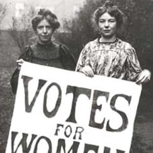 two women holding voter sign black and white image